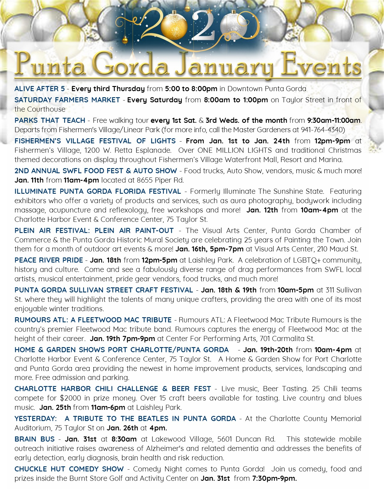 Punta Gorda January Events